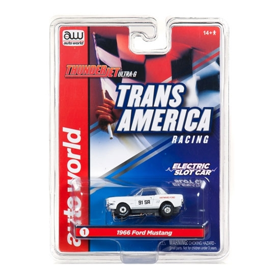 Auto World Thunderjet R24 Trans America 1966 Ford Mustang - Hayward Ford HO Slot Car