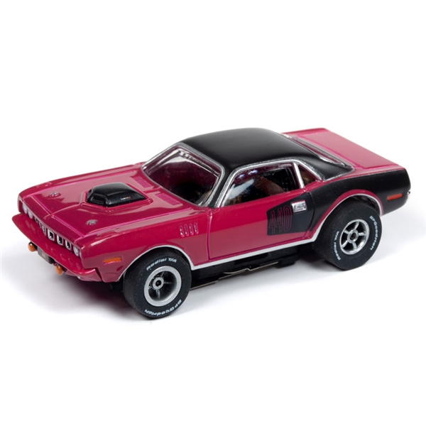 Auto World Xtraction R26 1971 Plymouth Cuda (Panther Pink) HO Slot Car
