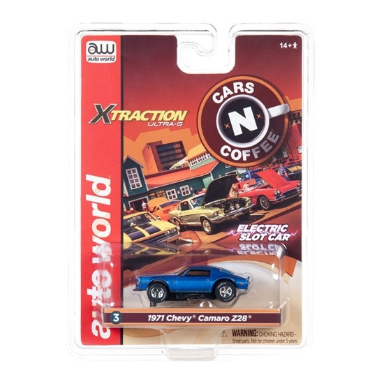Auto World Xtraction R26 1971 Chevy Camaro Z28 (Blue) HO Slot Car