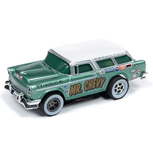 Auto World Xtraction R26 1955 Chevy Nomad Mr. Chevy (Green) HO Slot Car
