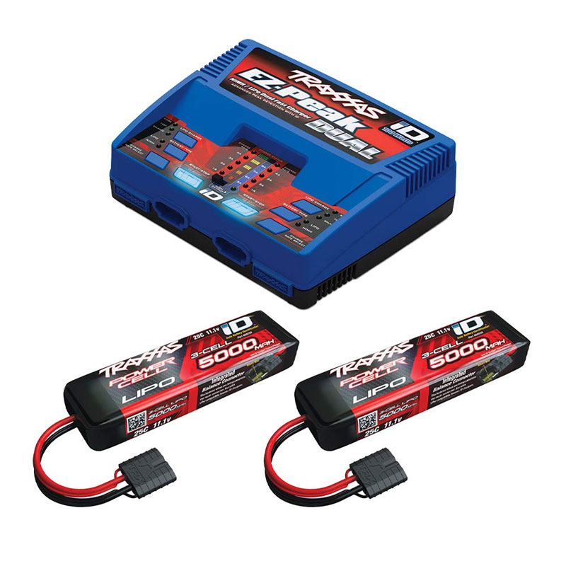 Traxxas EZ-Peak Dual Charger w/2x 3S 5000mAh LiPo Battery Completer (2990)