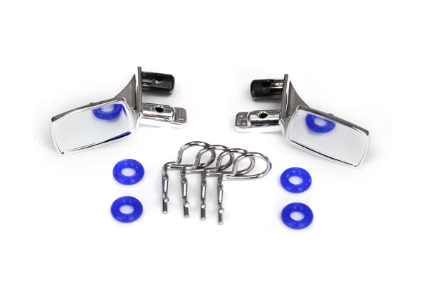 Traxxas TRX-4 Blazer Chrome Side Mirrors w/O-Rings & Body Clips (4) for #8130 Body (8133)