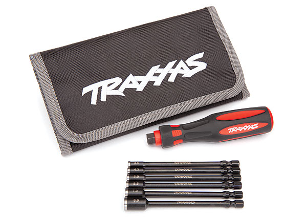 "Traxxas Speed Bit 6-Pc 4-8mm Nut Driver Master Set with 1/4"" Drive Premium Handle & Pouch (8719)"