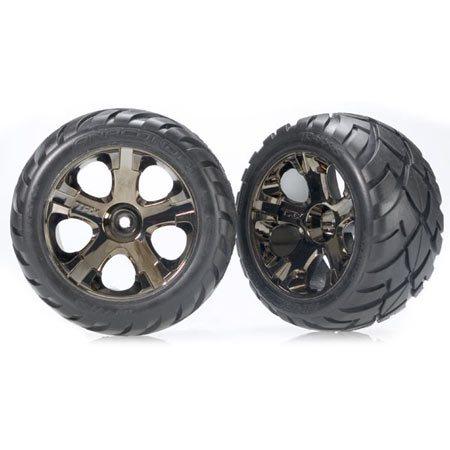 Traxxas Front Black Chrome All-Star Wheels w/Anaconda Tires: Stampede, Rustler, Bandit