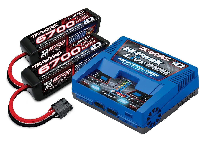 Traxxas EZ-Peak Live Dual ID Charger & 2x 4S 6700mAh LiPo Batteries for X-Maxx 8S (2997)