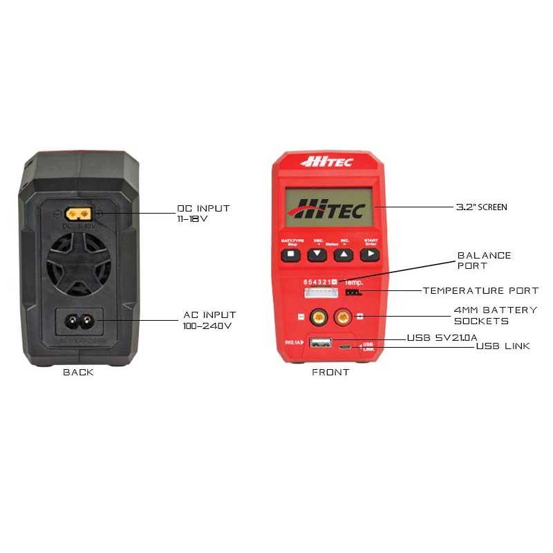 Hitec RDX1 AC/DC Battery Charger & Discharger (44245)