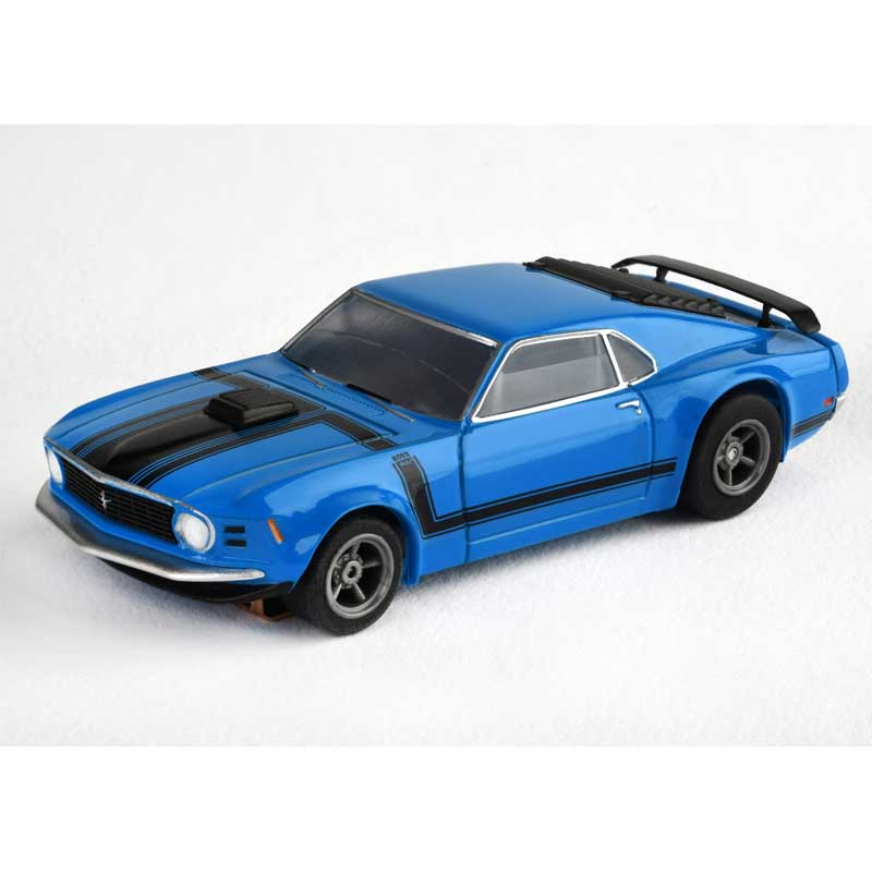 AFX Ford Mustang Boss 302 Blue Mega G+ HO Slot Car with Clear Windows (22026)