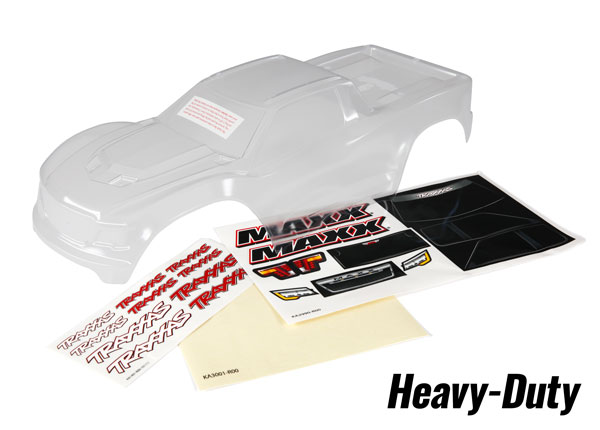 Traxxas Maxx Heavy Duty Clear Body w/Masks & Decals (clear, trimmed, requires painting) (8914)