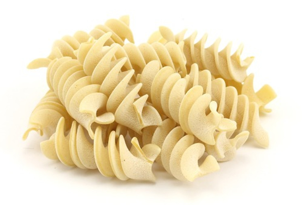 """Masciarelli Fusilloni Bronze cut Artisan Italian pasta from Abruzzo  A combination of the words """"homemade"""" and """"little"""", this shape is made using short lengths that have been rolled at the edges and slightly twisted.  This cut lends itself to any recipe with grilled fennel, sausage, broccoli rabe, tomatoes, etc.  Pastificio Masciarelli (est. 1867) located in the small Abruzzo mountain village of Pratola Peligna (AQ), is regarded as one the oldest family pasta producers in Italy; having been operated by the same small family throughout their 145 year history.  What makes Pastificio Masciarelli Bronze Cut Pasta so incredible? Well, almost 95% of all dry pasta produced is made using silicon dyes, which create a very smooth surface.  Not Masciarelli.   They create their bronze cut artisan pasta one form at a time, using a single press and a small set of handmade circular bronze dyes.  The ingredients are simple: 100% durum wheat (high in protein) and pure spring water from the waters of the surrounding Majella National Park; and nothing else.   Each batch is handled independently from the others; mixed and adjusted by eye and feel and cut by hand. The resulting shapes are allowed to dry at a very low temperature (not exceeding 45* c) for as long as 3 days.   This method is more time consuming than those used by most of their large scale counterparts, but allows for the gradual removal of moisture from the pasta. A fact that can be seen on the pasta itself, in the form of a fine dust of flour that remains on the surface.   All of this extra effort and bronze dyes produce a rough texture, (which you can feel) and allows sauce to cling to this extraordinary product. So, if you've ever wondered why the sauce just slides off your regular industrial pasta, this is why; it has nothing to cling to."""