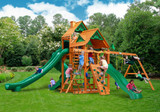 Lifestyle front view of Great Skye II Swing Set from PlayNation