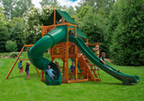 Lifestyle rear front view of Great Skye II Swing Set from PlayNation