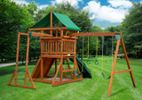 Rear outdoor shot of Outing w/ Monkey Bars Swingset from Playnation