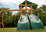 Extreme shot of Outing w/ Dual Slide Swingset from Playnation