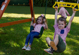 Close up view of Ranger Swing Sets Swing Belts and Trapeze from PlayNation Play Systems.