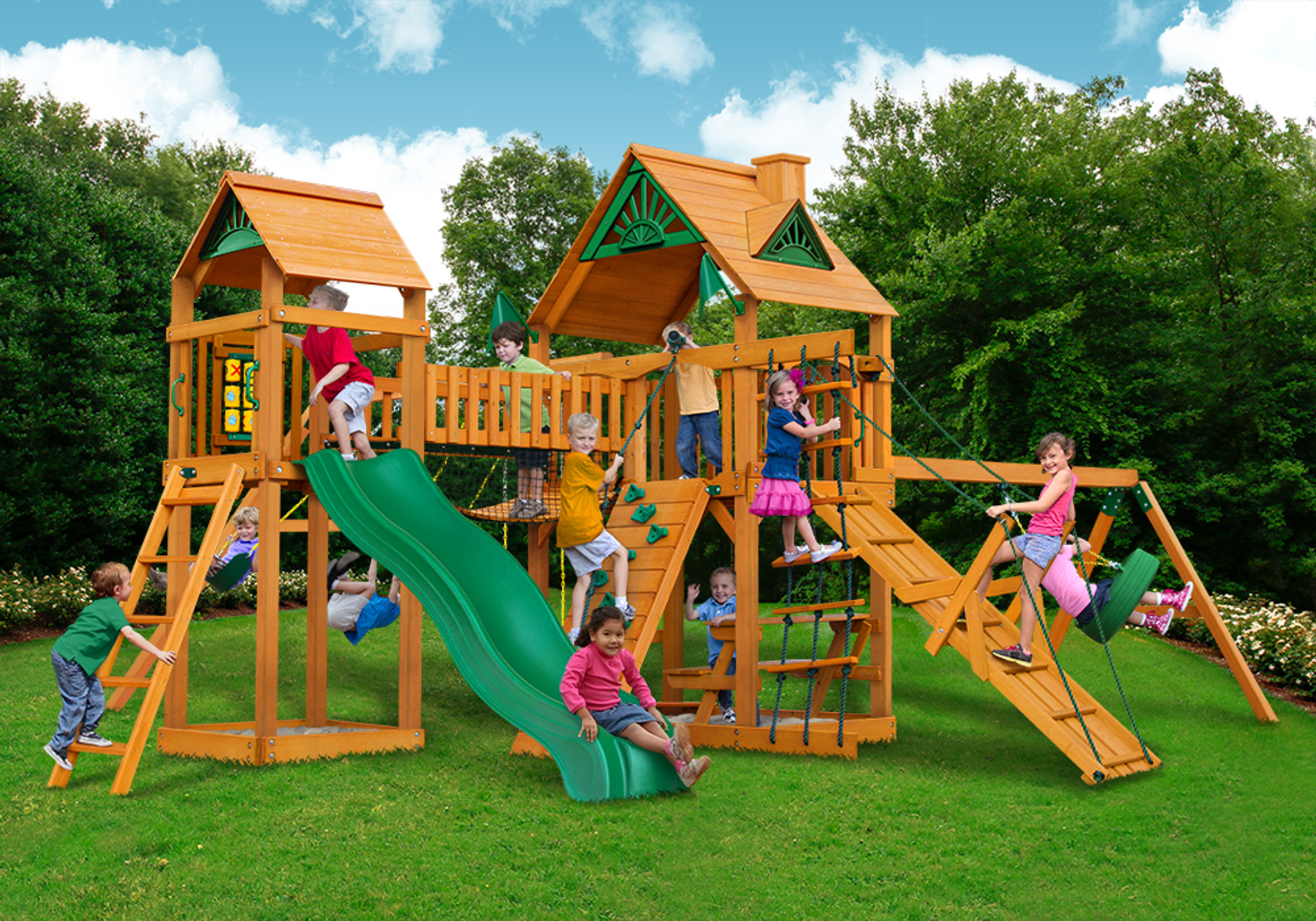 Outside front view of Pioneer Peak Swingset from PlayNation