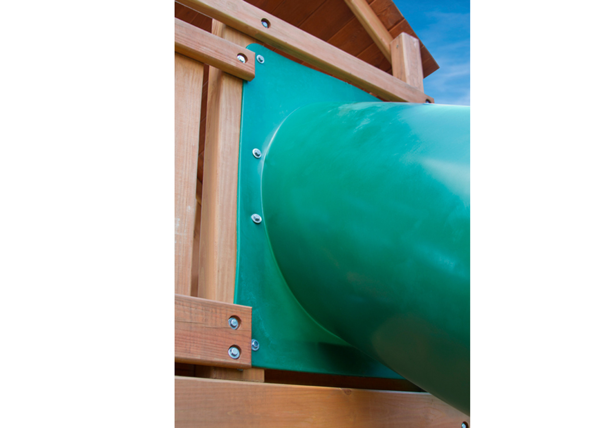 Alt lifestyle shot of Green Super Tube Slide from PlayNation Play Systems.