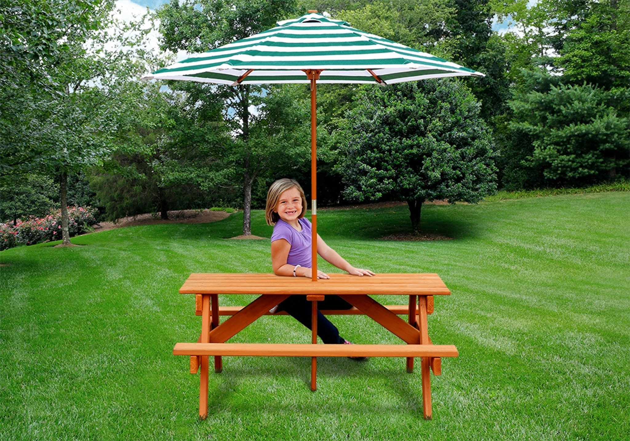 Children's Picnic Table with Shade Umbrella