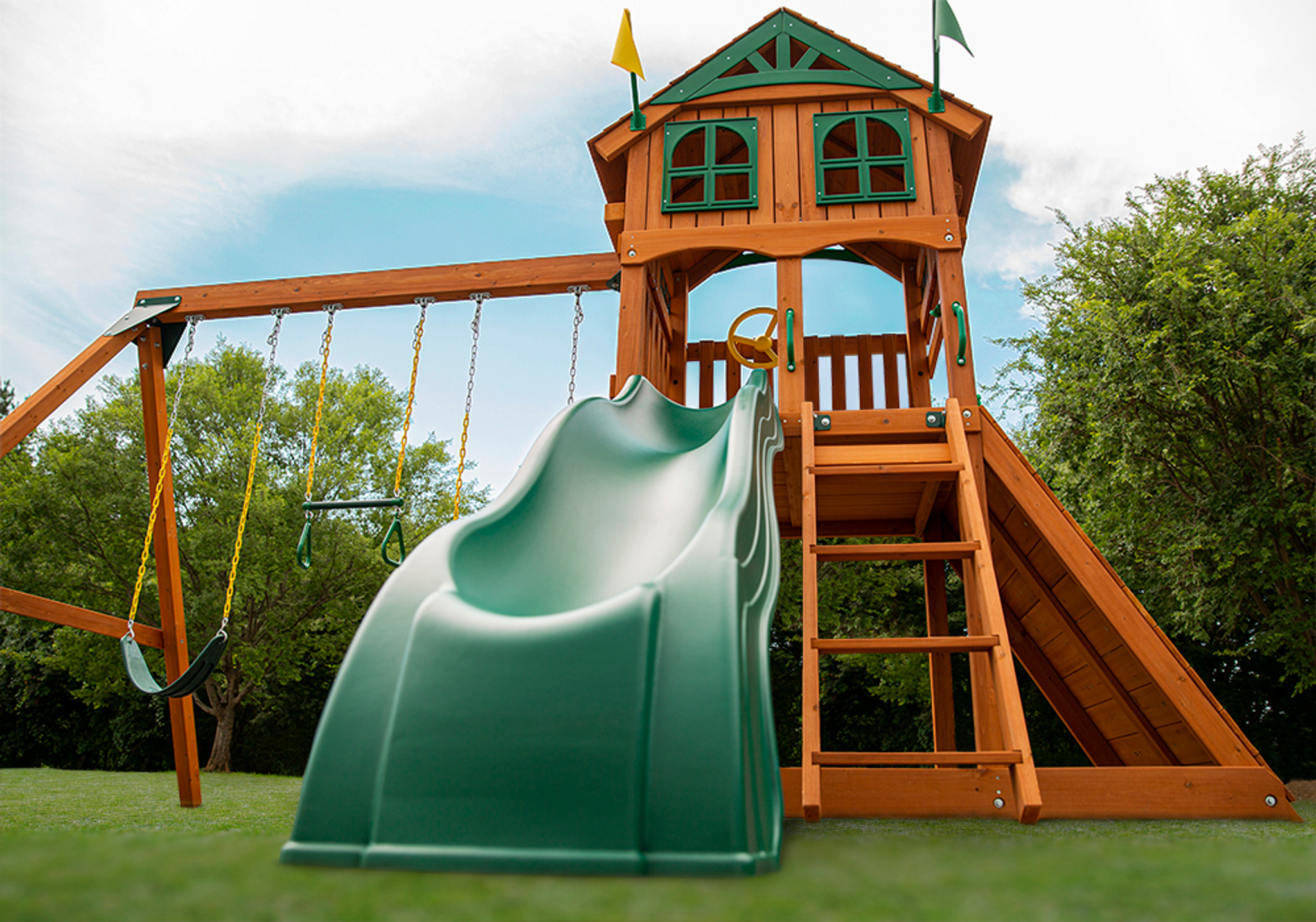 Extreme shot of Outing Play Set and Alpine Wave Slide from Playnation