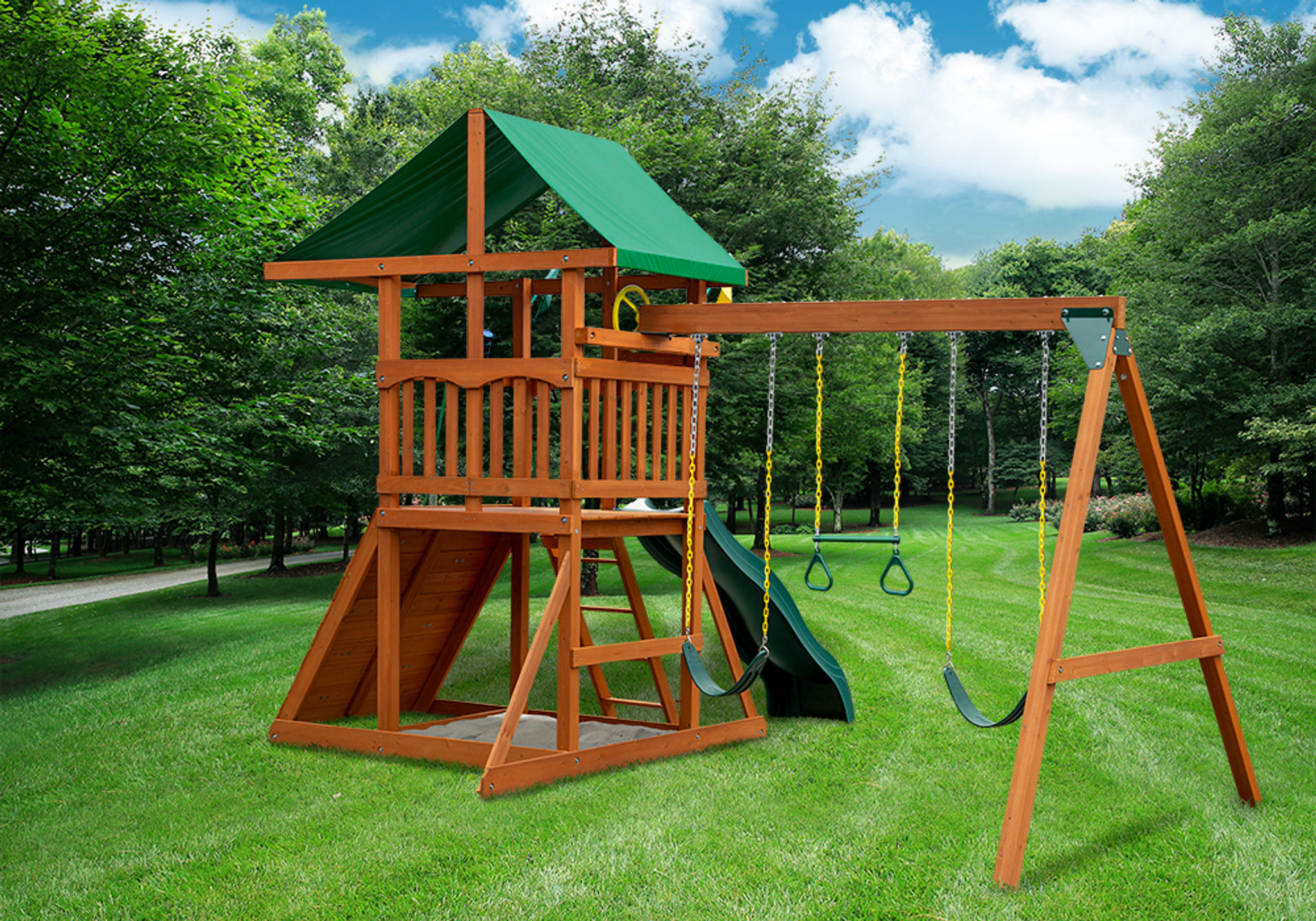 Rear outdoor shot of Outing Swingset from Playnation