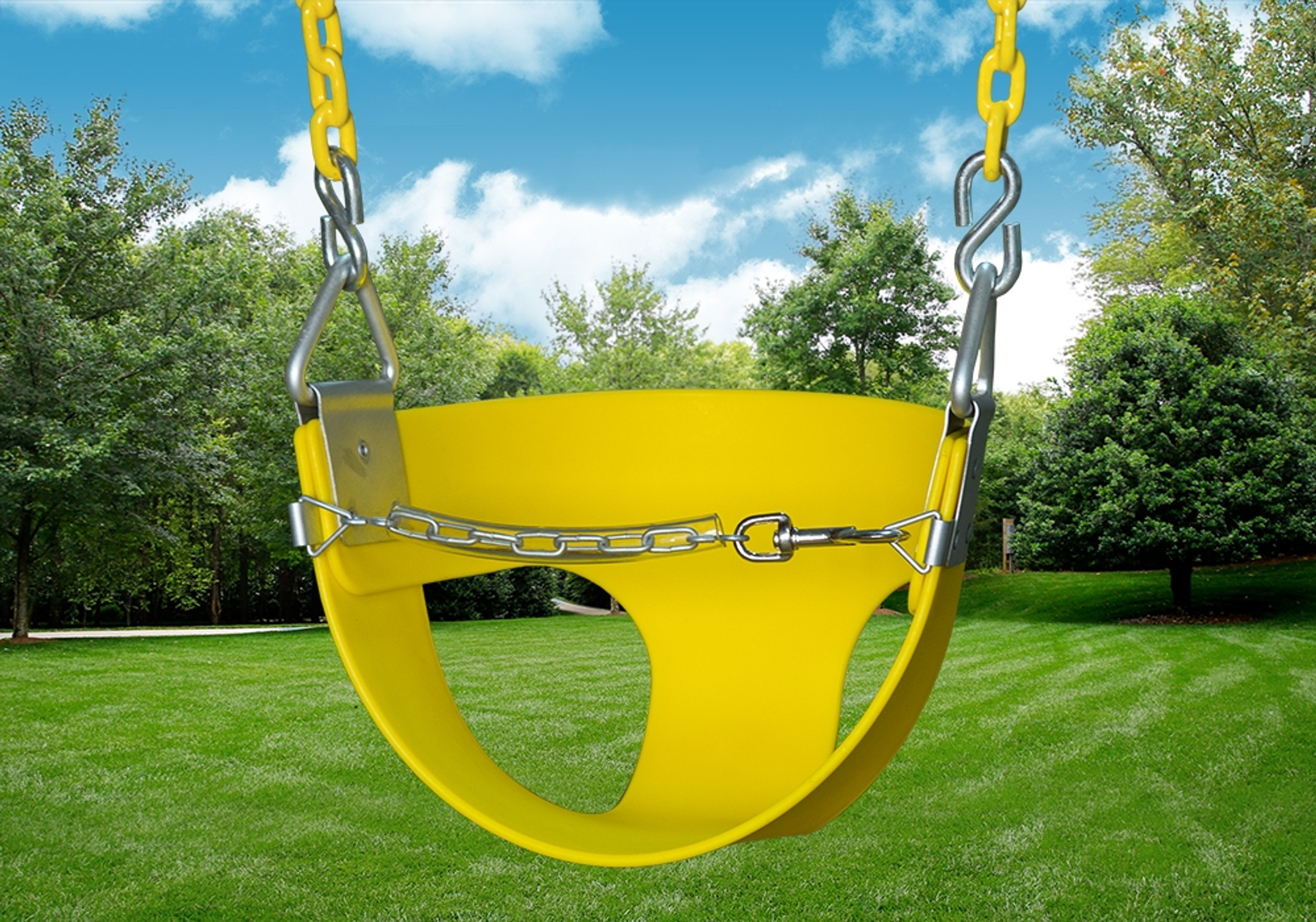 Outdoor Shot of yellow Half Bucket Toddler Swing from PlayNation.