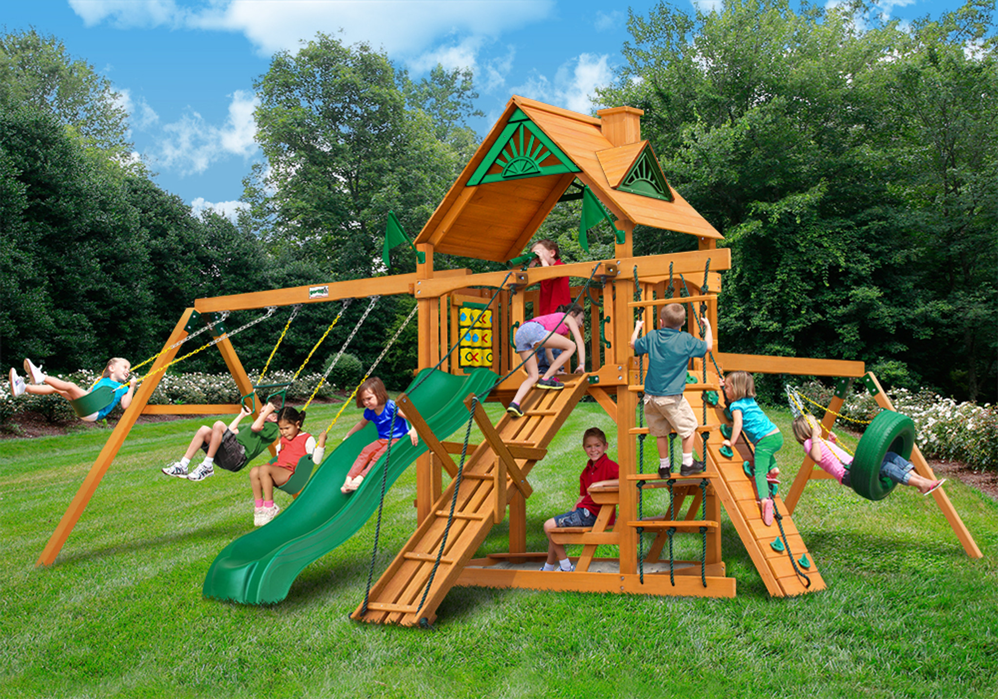 Outdoor front view of Horizon w/ Tire Swing + Ramp Swing Set  from PlayNation