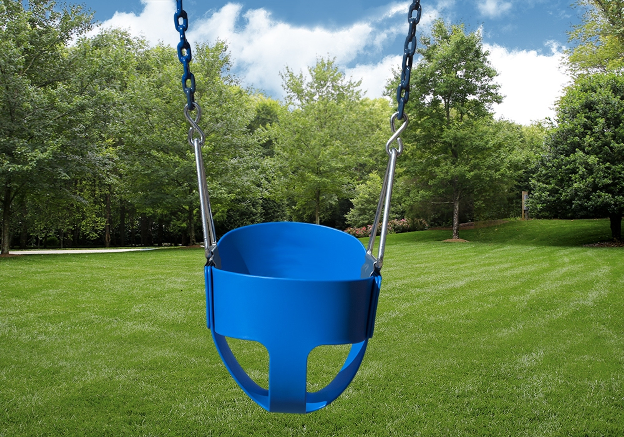 Outdoor shot of Blue Full Bucket Toddler Swing from PlayNation.