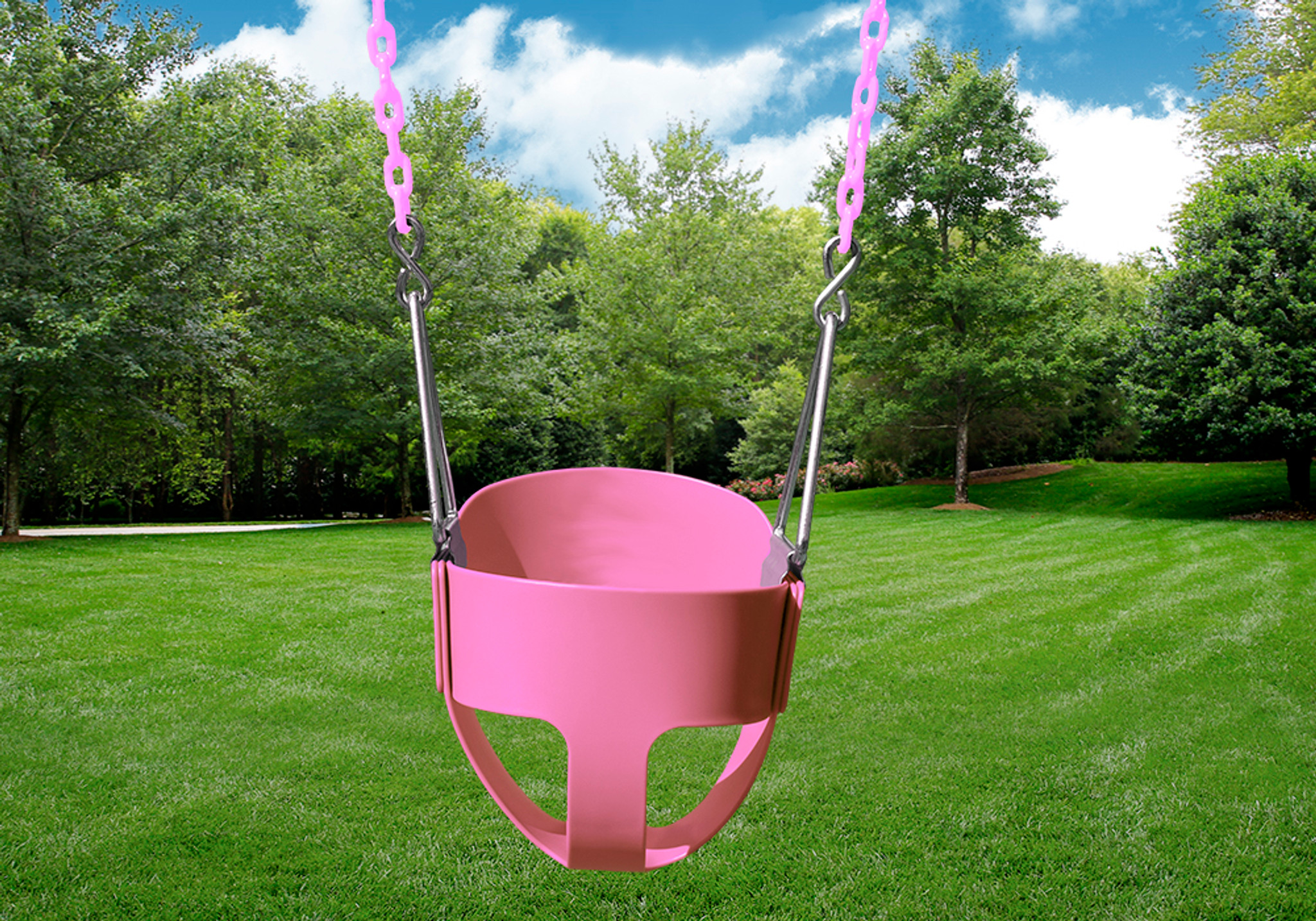 Outdoor shot of Pink Full Bucket Toddler Swing from PlayNation.