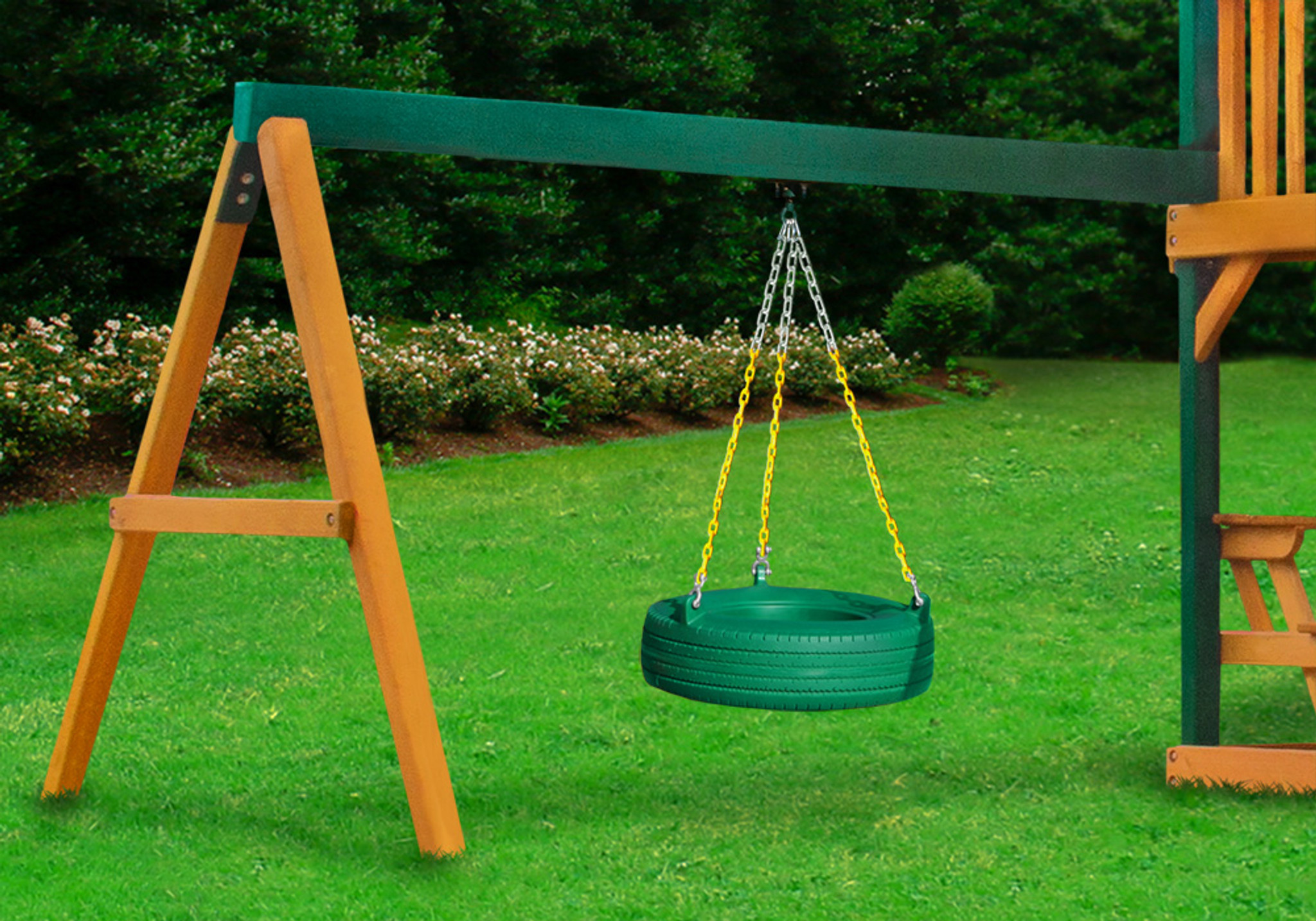 Lifestyle shot of the Tire Swing Add-On from PlayNation.