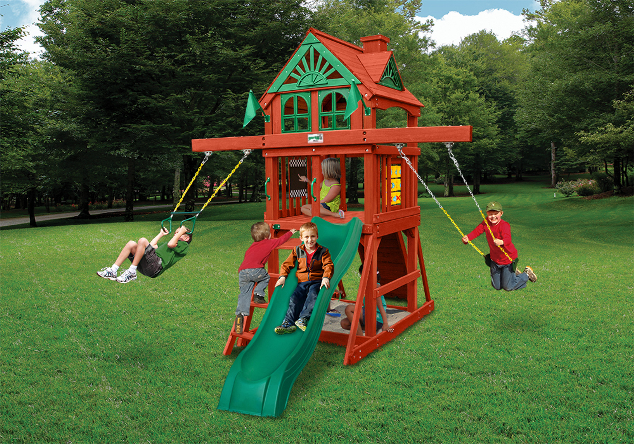 Outdoor view of Five Star Space Saver Play Set from PlayNation