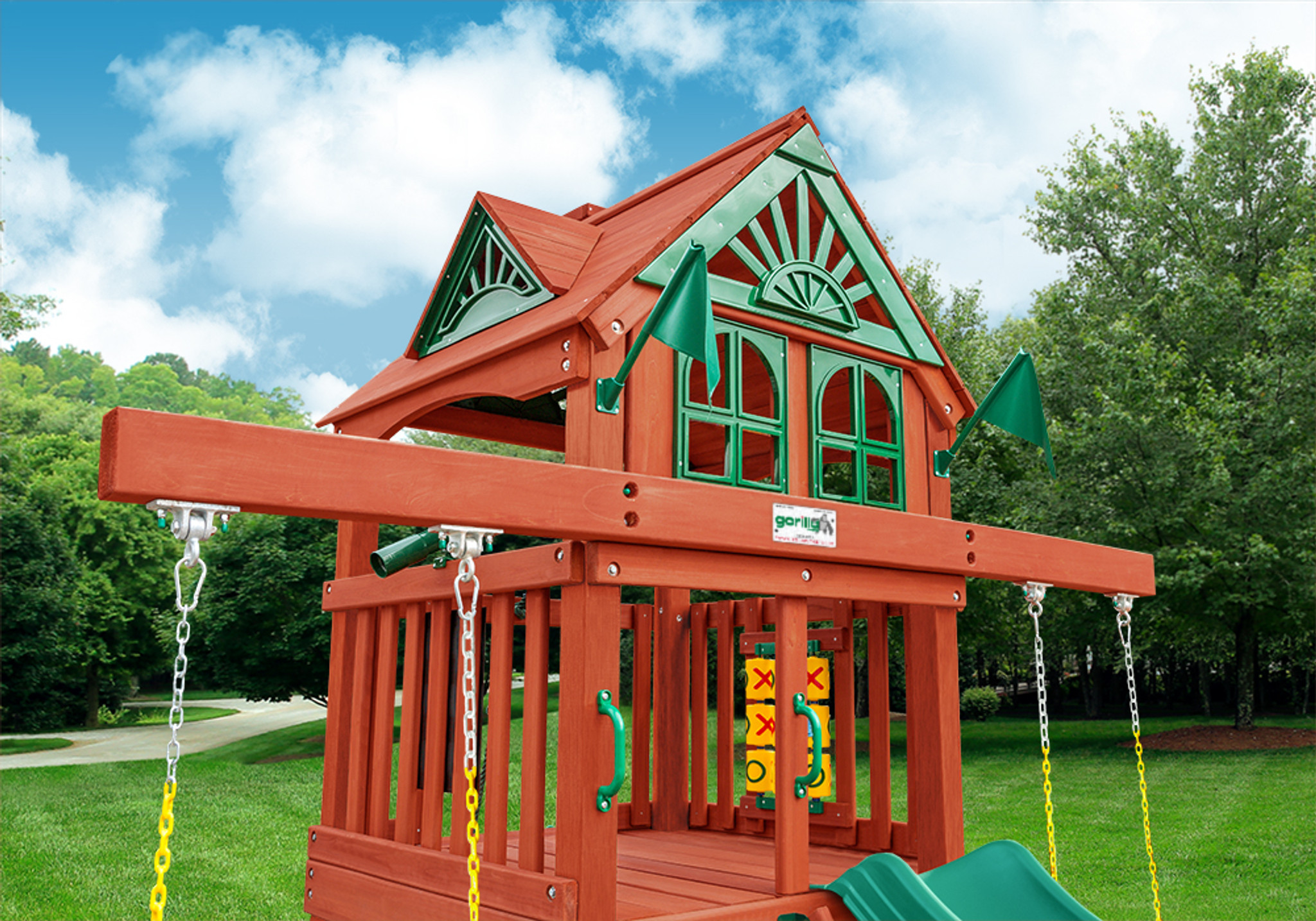 Close up view of Wood Roof for the Five Star Space Saver Play Set from PlayNation