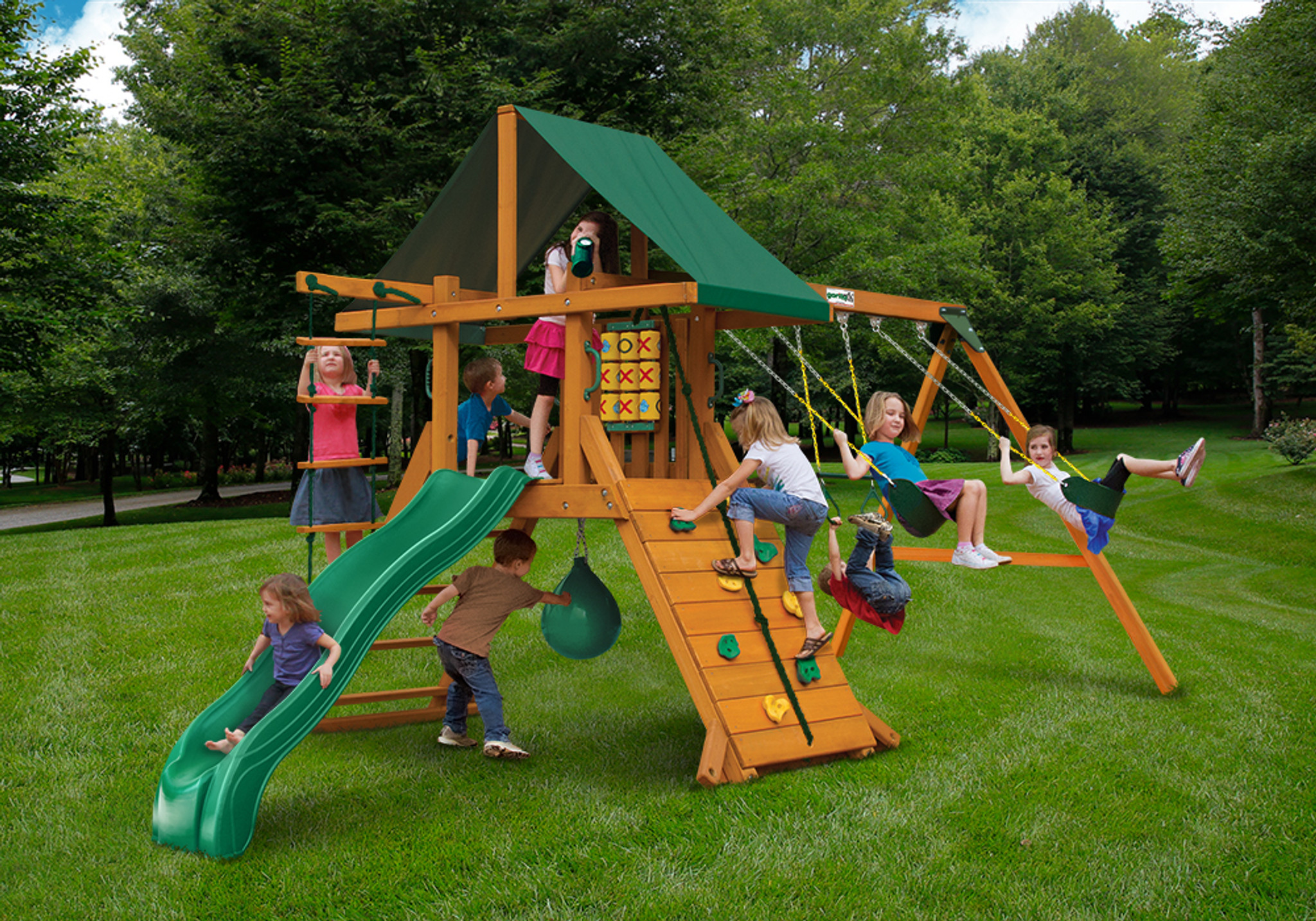 Outdoor front view of High Point Play Set from Playnation