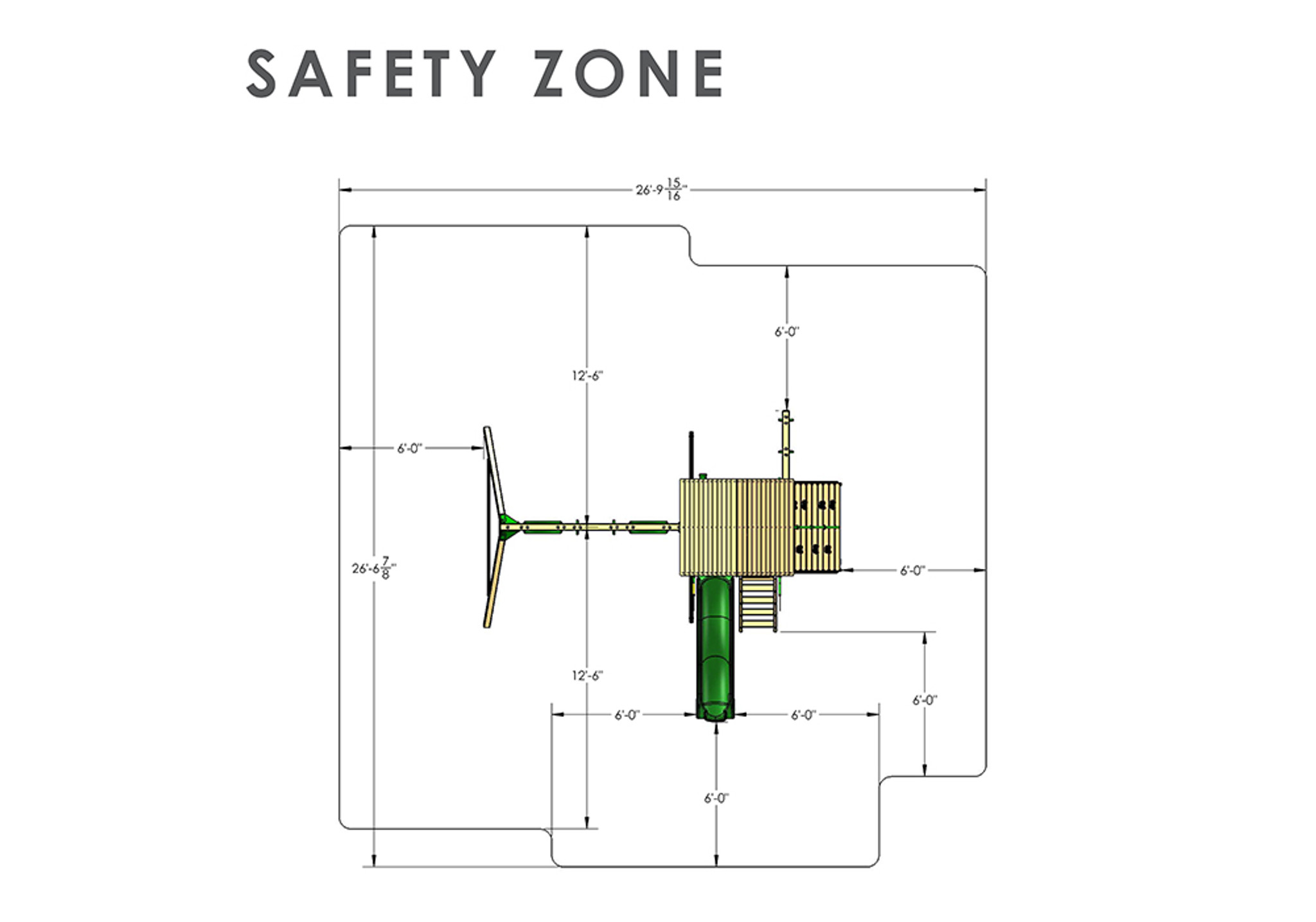 Overhead Safety Zone View of Passage II w/ Trapeze Bar Swing Set from Playnation