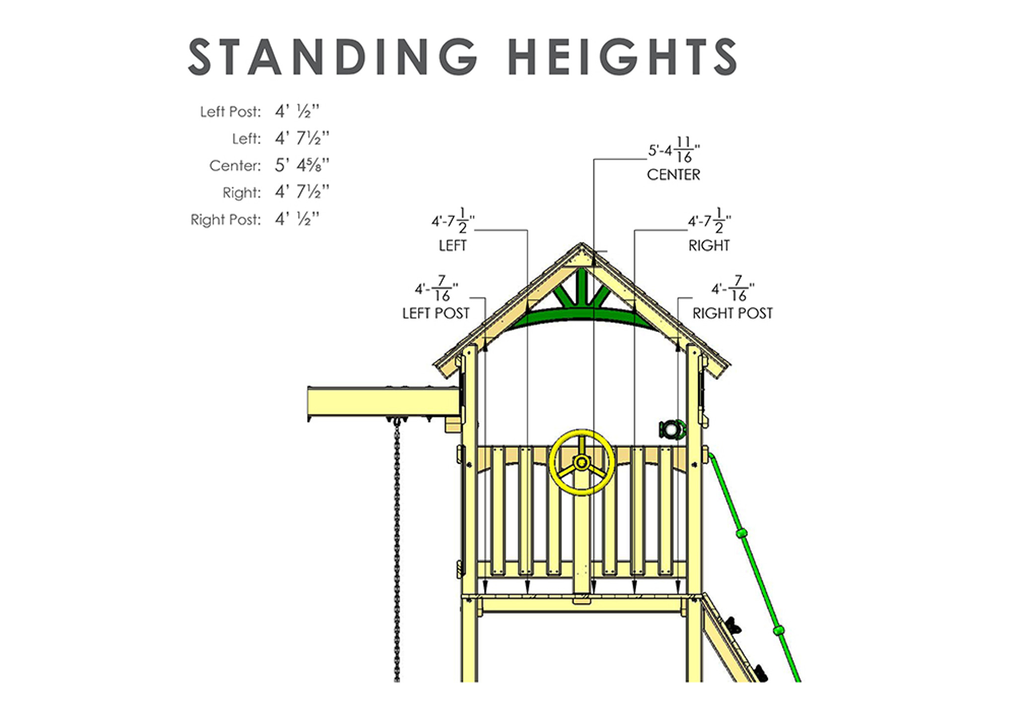 Wood Roof Standing Heights View of Passage II w/ Trapeze Bar Swingset from Playnation