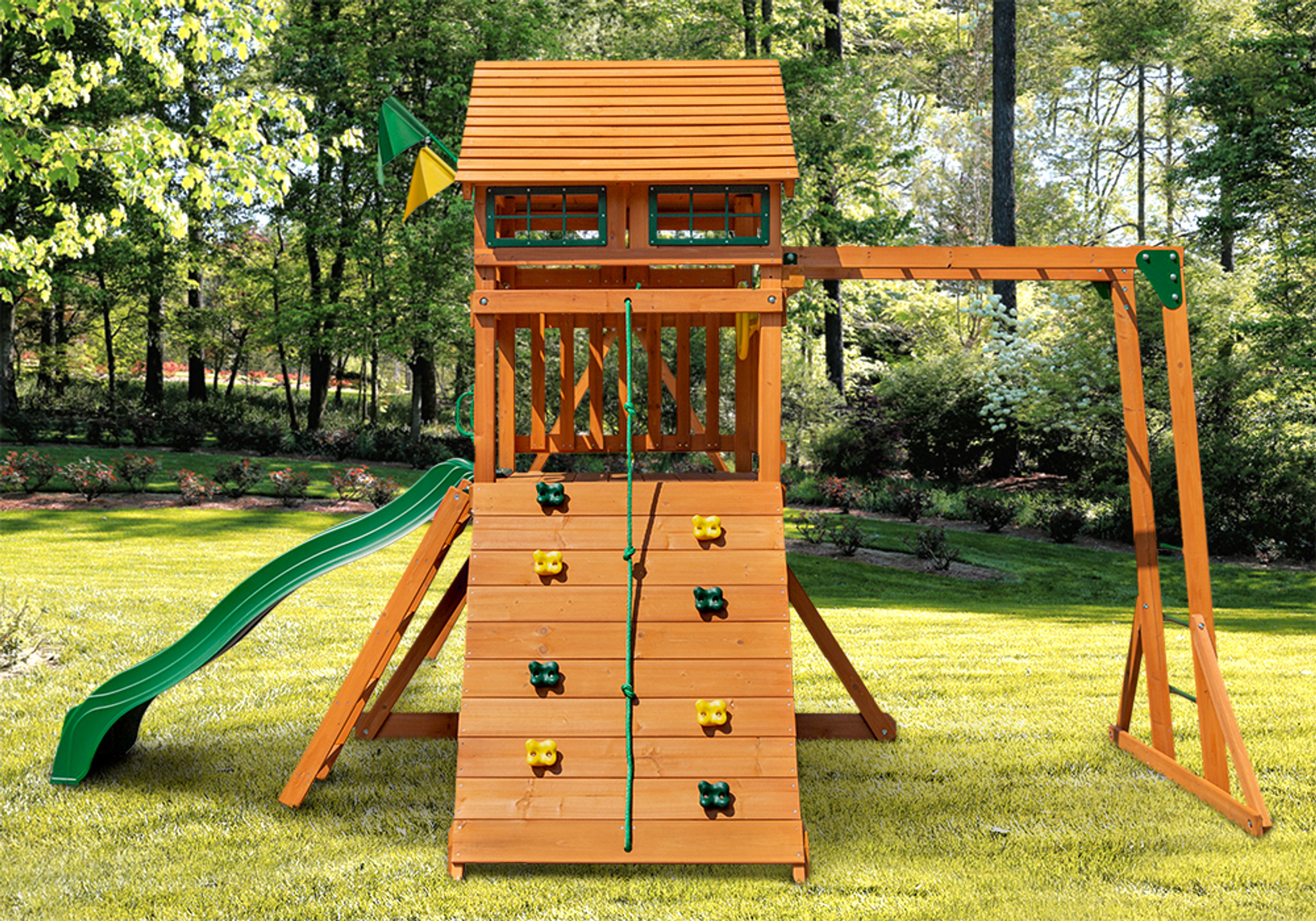 Outdoor side shot of Passage II w/ Monkey Bars Play Set from Playnation