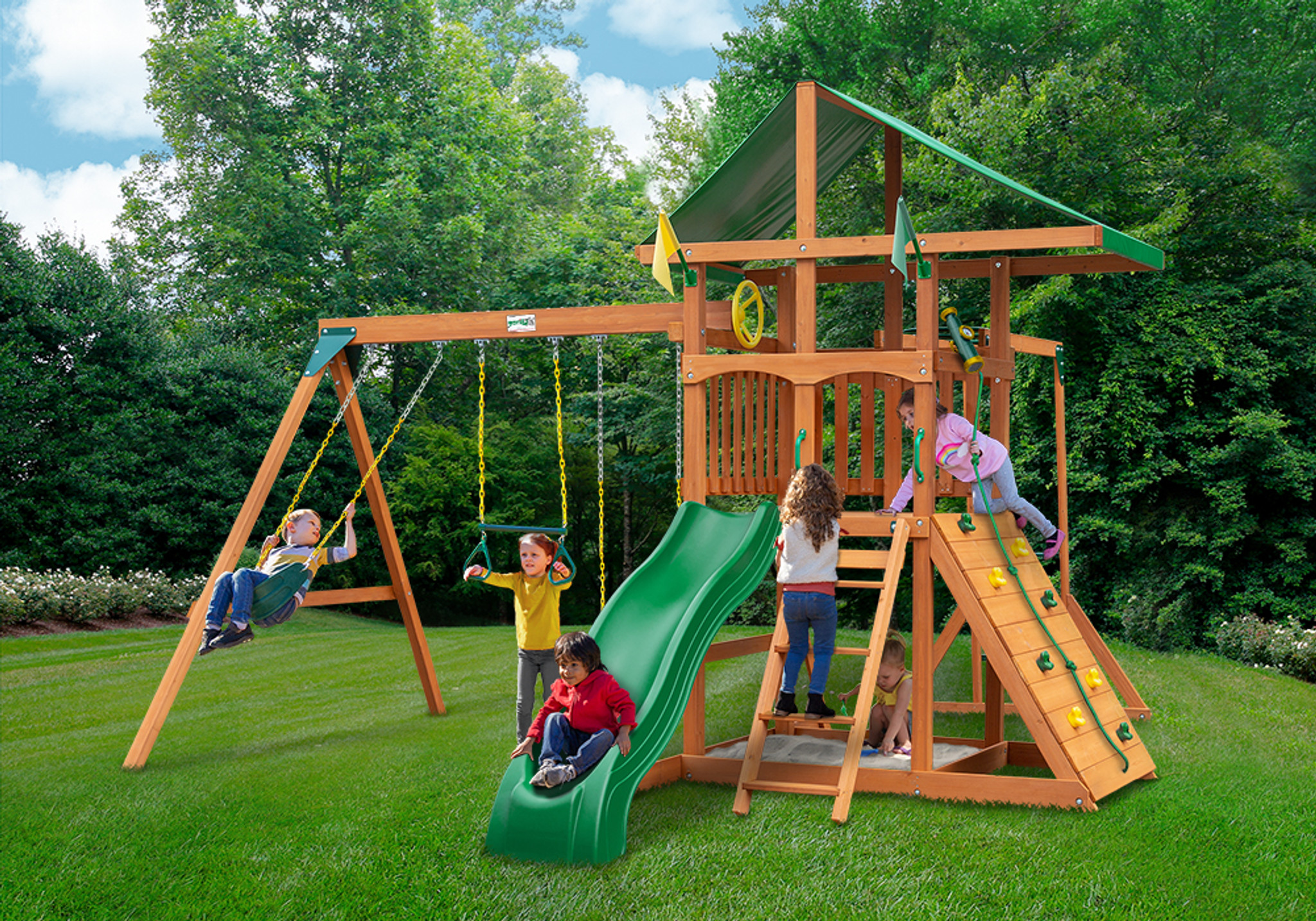 Outside view of Outing w/ Monkey Bars Swingset from Playnation