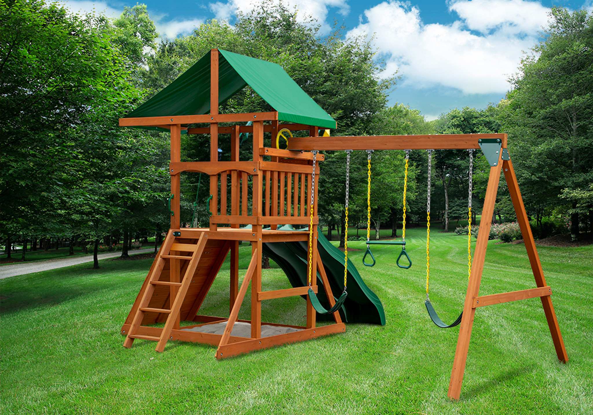 Rear outdoor shot of Passage II w/ Dual Slide Swingset from Playnation