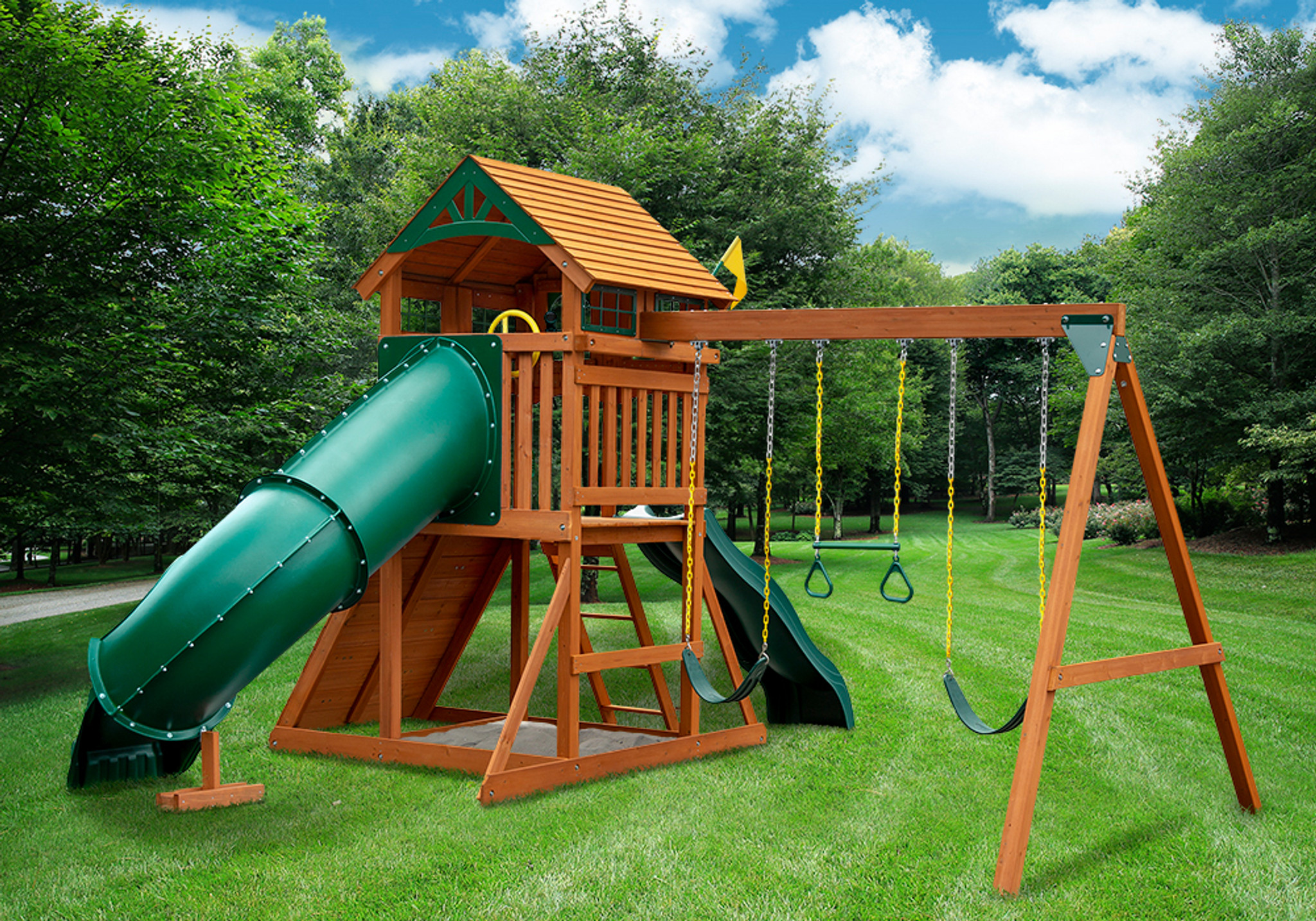Rear outdoor shot of Passage II w/ Tube Slide Swingset from Playnation