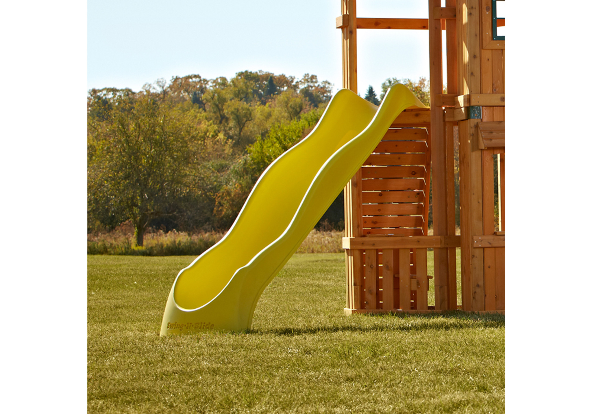 Outdoor Alt shot of Yellow Speedwave Slide from PlayNation Play Systems.