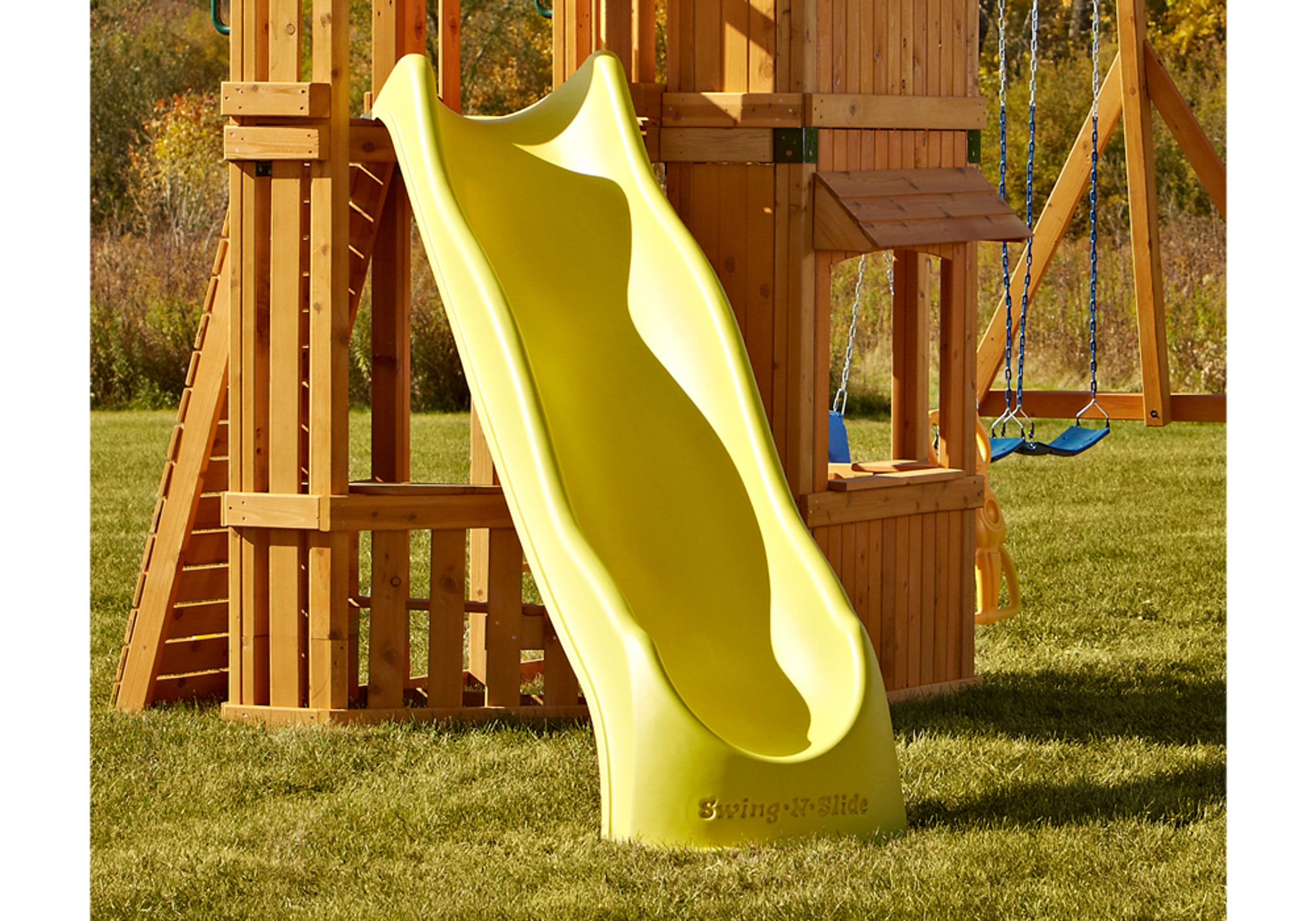 Lifestyle Alt shot of Yellow Speedwave Slide from PlayNation Play Systems.