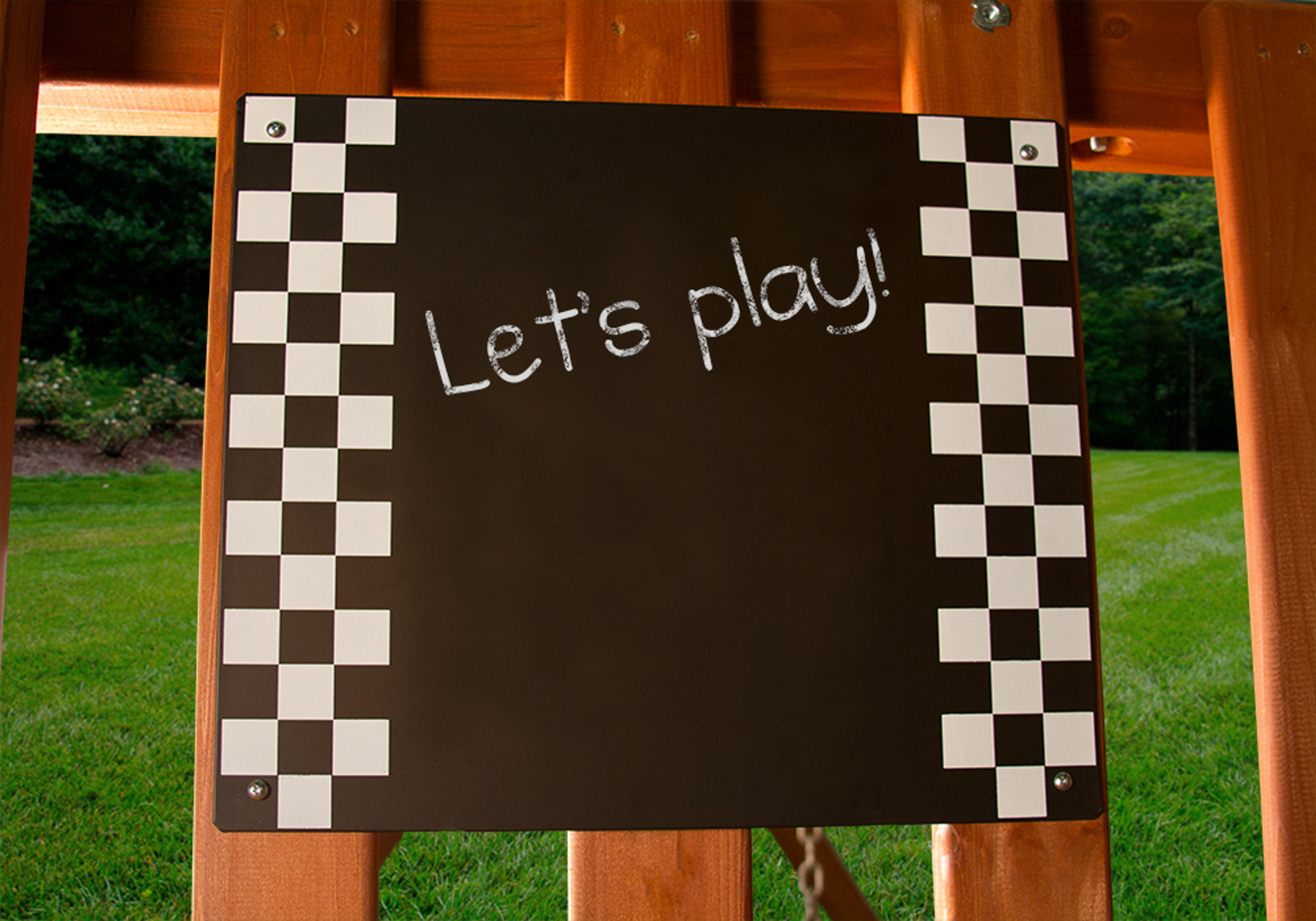 Close up view of Chalkboard from Playnation play systems.