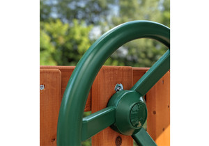 Close up view of  Steering Wheel with four spokes from PlayNation.