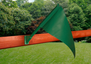 Outdoor shot of green Playset Flag Kit from PlayNation.
