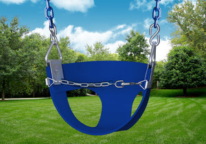 Studio Shot of  blue Half Bucket Toddler Swing from PlayNation.
