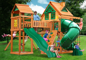 Outdoor front view of Wilderness Gym Play Set from Playnation