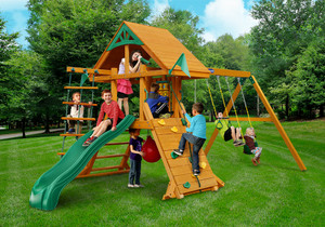 Outdoor front view of Latitude Deluxe Play Set from Playnation