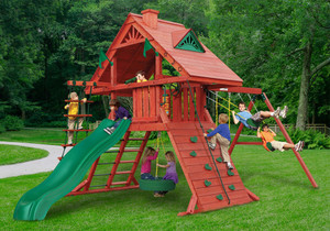 Outdoor front view of Sun Palace Play Set from Playnation