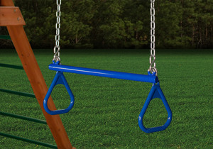 """Outdoor shot of blue 21"""" Trapeze Bar Assembly with Rings from PlayNation."""