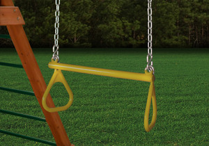 """Outdoor shot of yellow 21"""" Trapeze Bar Assembly with Rings from PlayNation."""