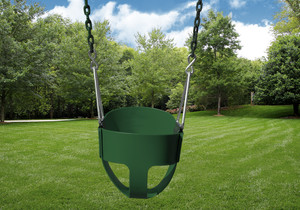 Outdoor shot of Green Full Bucket Toddler Swing from PlayNation.
