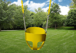 Outdoor shot of Yellow Full Bucket Toddler Swing from PlayNation.
